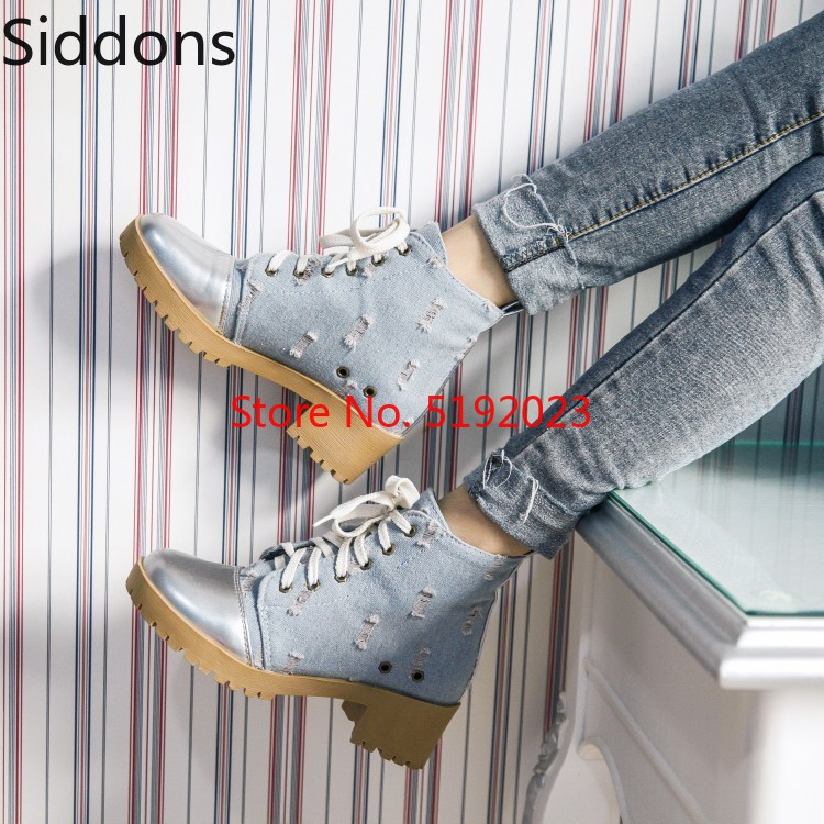 2019 New Pumps High Heels Wedges High-top Casual Shoes Woman Round Toe Lace Up Canvas Ankle Boots D118