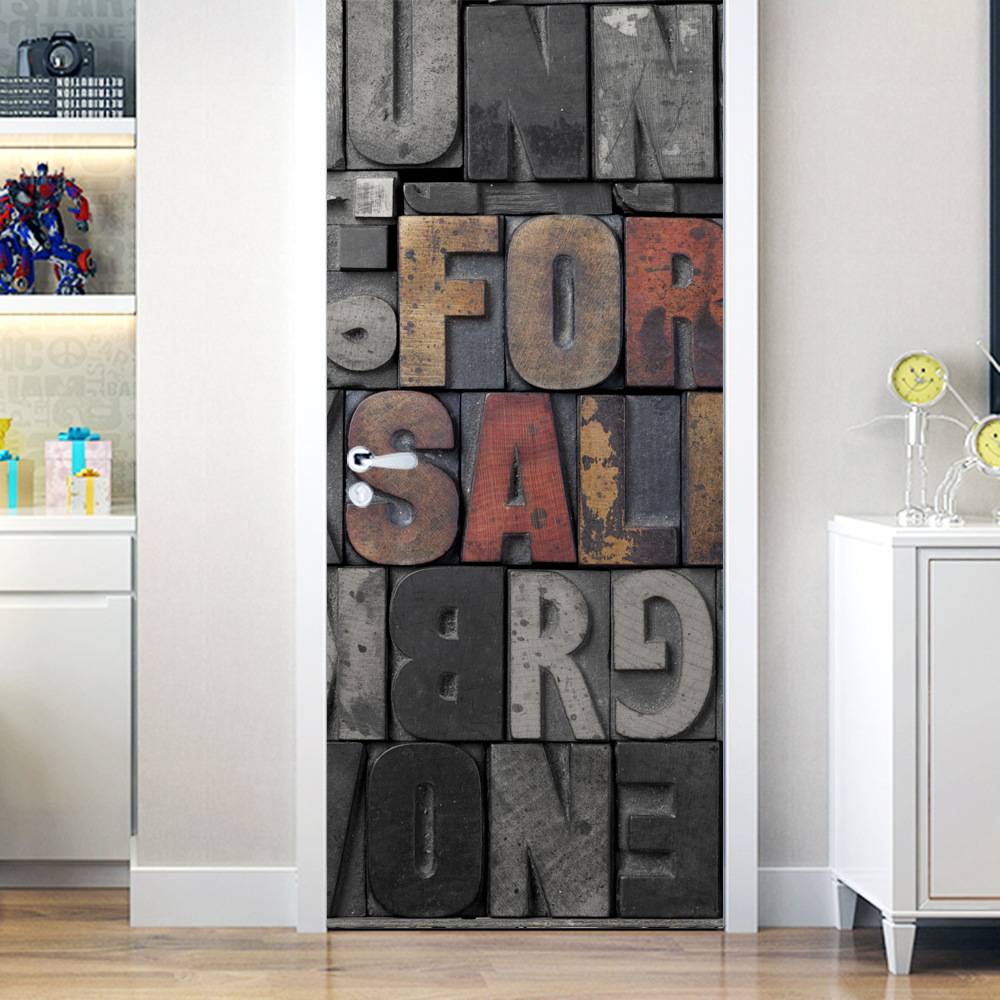 New door sticker Wardrobe refurbished stickers Waterproof removable wallpaper self adhesive alphabet pattern PVC wallpaper in Wall Stickers from Home Garden