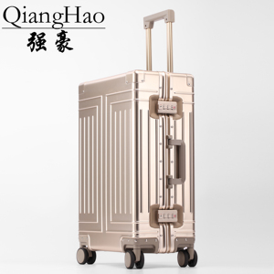 Image 1 - QiangHao brand 100% Aluminum alloy material spinner travel suitcase laptop trolley hand luggage for travelling