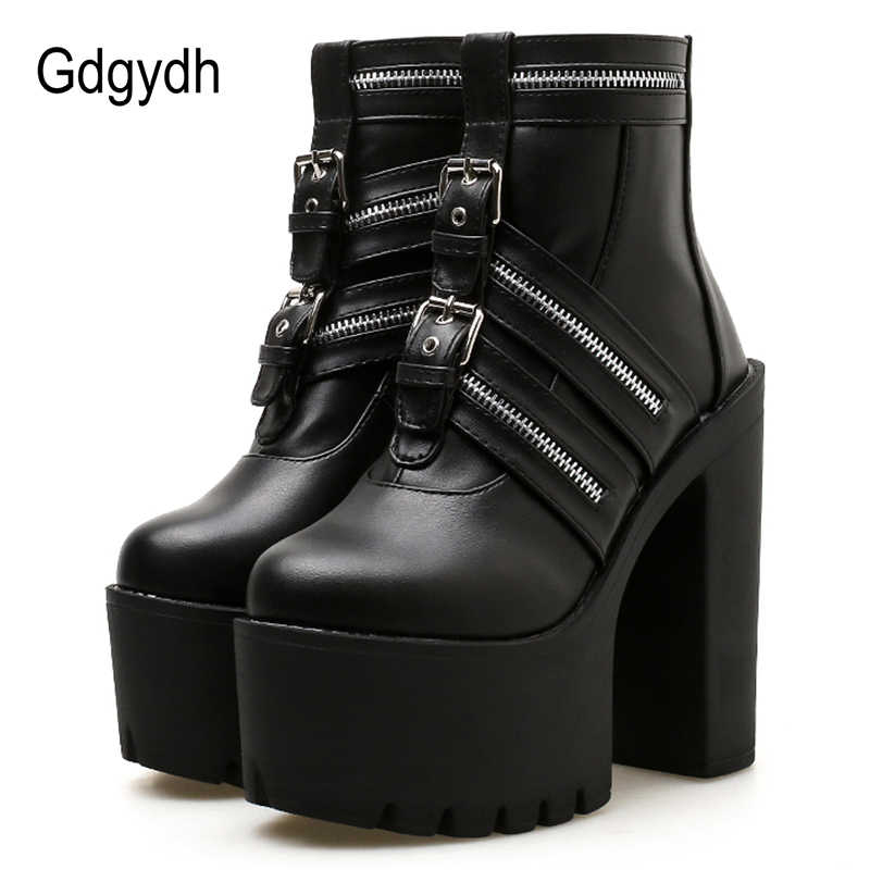 Gdgydh Ultra Hoge Hakken Enkellaars Para Mulheres Sexy Rits Gothic Black Leather Platform Party Schoenen Vrouwelijke Nachtclub Schoenen