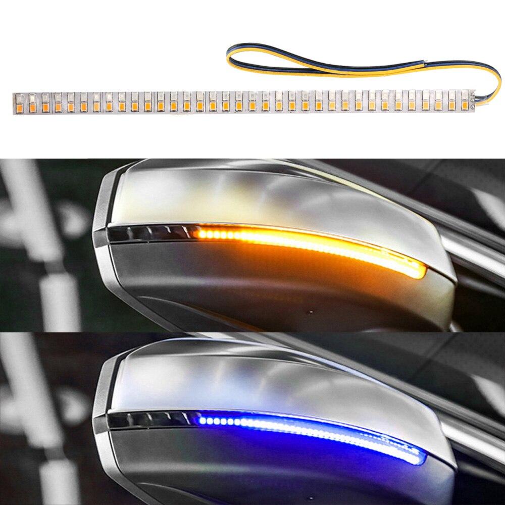 LEEPEE авто-Стайлинг светодиодный течет поворотов полосы светильник автомобиль изменение стример Газа янтарный синий автомобиль Зеркало зад...