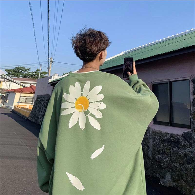 NiceMix Women Oversized Flower Fleece Hoodies 2020 Autumn Men Harajuku Streetwear Sweatshirts Hoodie Korean Drop Shoulder Hoodie