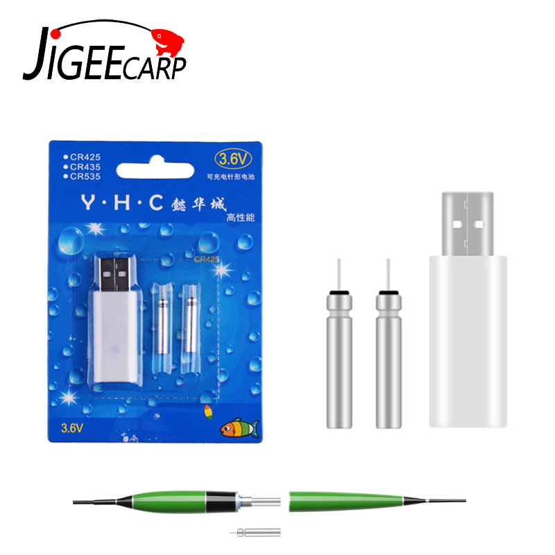 JIGEECARP Electronic Fishing Float LED Rechargeable CR425 Battery Set Match USB Charger Devices Fishing Float Accessories