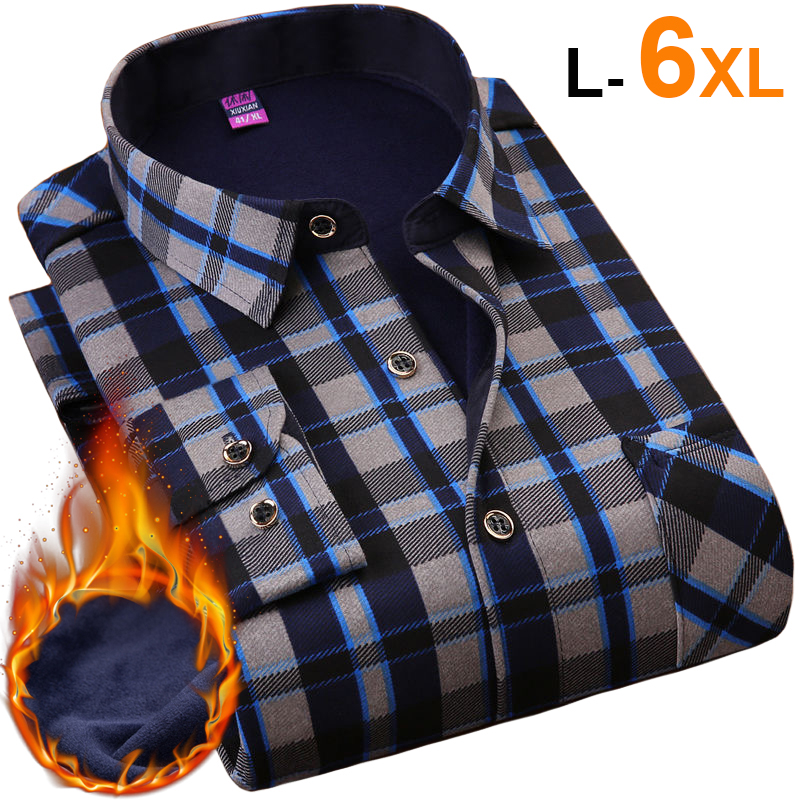 NIGRITY Autumn Winter Mens Long Sleeve Plaid Warm Thick Fleece Lined Shirt Fashion Soft Casual Flannel Shirt Plus Big Size L-6XL