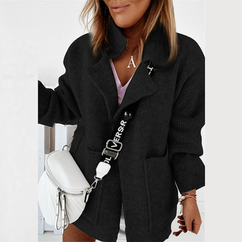 Women Elegant knitted Sweater Cardigan Coat Autumn Winter Turn-down Collar Jackets Tops Vintage Warm Pocket Long Sleeve Coat Top