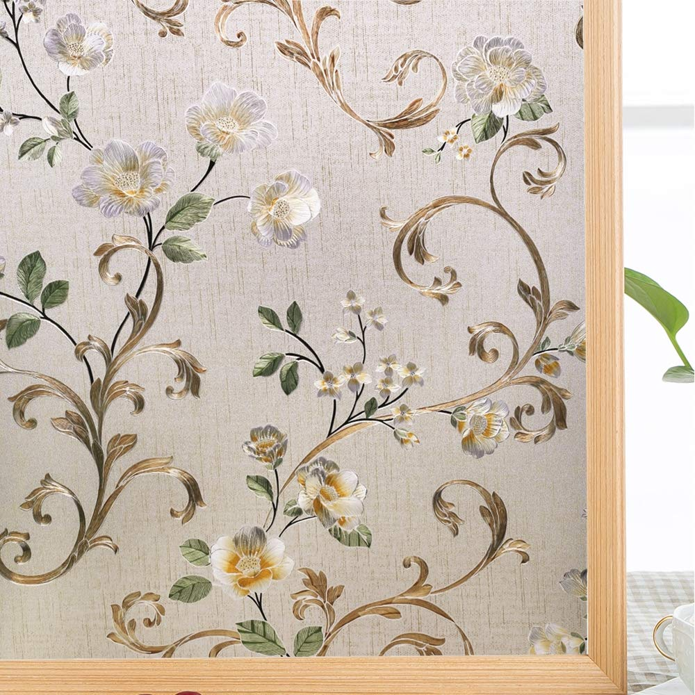Decorative 3D Window Glass Sticker, Vinyl Self-adhesive Window Tint Films ,Stained Window Glass Films for Home Office 1