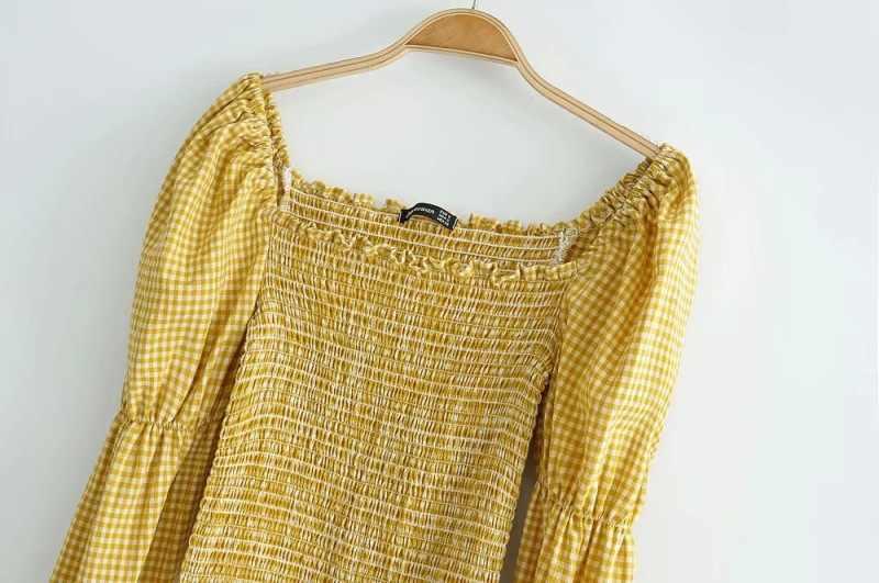 Vintage Vierkante Hals Lange Mouwen Cropped Blouse Vrouwen Zomer Elastische Gesmokte Crop Top Streetwear Geel Shirt Blusas 2020