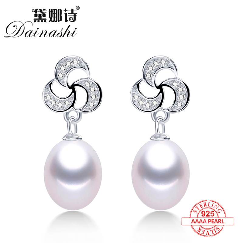 2020 New Arrival Pure Silver S925 Drop Earrings For Women  Fashion Design 5ANatural Freshwater Pearl Dangle Earrings Jewelry Hot