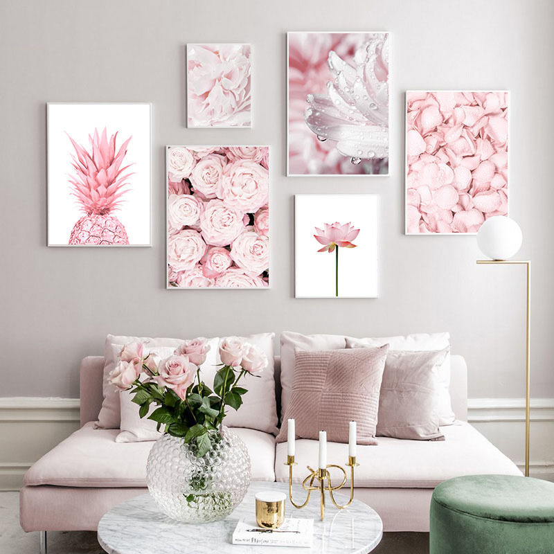 Simple Nordic Style Sheet Pineapple Rose Lotus Wall Spray Painting Hanging Painting Oil Painting Wall Art Canvas Painting