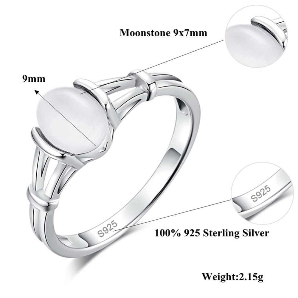 CiNily White & Blue Moonstone Solid Silver สีแหวน Twilight Bella งานแต่งงานแหวนเงิน VINTAGE Jewelry