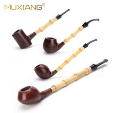MUXIANG Handmade drewniane fajki do palenia wrzosiec prosto/wygięty model rury dym tytoń demontowalny uchwyt rury aa0362s 76
