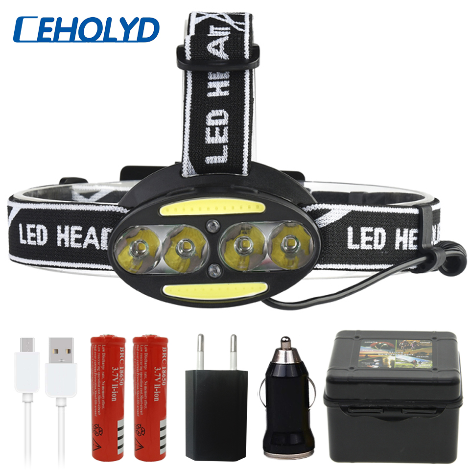 40000 Lumens Sensor Switch Super Bright LED Headlamp 4 X T6 + 2*COB 2 X Red Headlight 7 Lighting Modes With Batteries Head Lamp