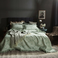 Nordic Green Bed Coverlet Set Three layer Yarn Cotton Summer Quilt Warm Ruffle Decoration Floral Bed Cover Quilt Bedspreads