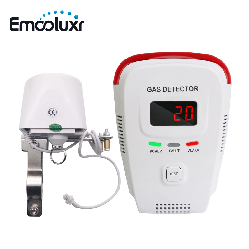 LPG Natural Gas Leakage Detection With DN15 DN20 Manipulator Valve To Cut Off Gas Resource For House Security Alarm