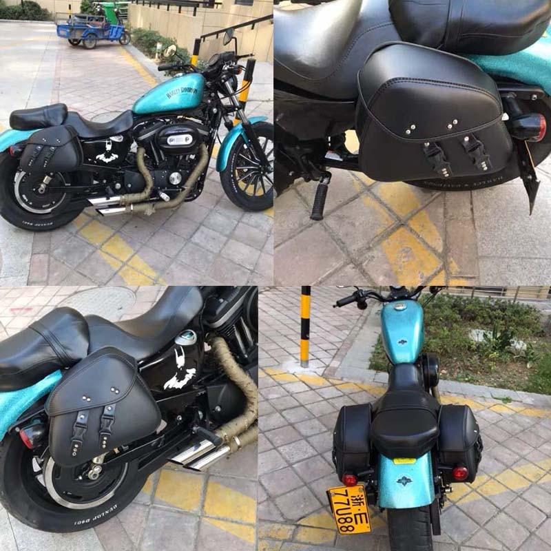 Motorcycle Bag Leather Saddle Bags 2pcs For Harley Sportster XL 883 XL 1200 Side Tool Bag Luggage alforjas para moto saddlebags (15)