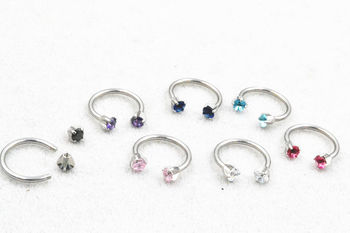 Supply of Goods Zircon Eyebrow Ring Nose Stud U-shackle Clavicular Nail Stainless Steel Horseshoe Ring External Thread Puncture