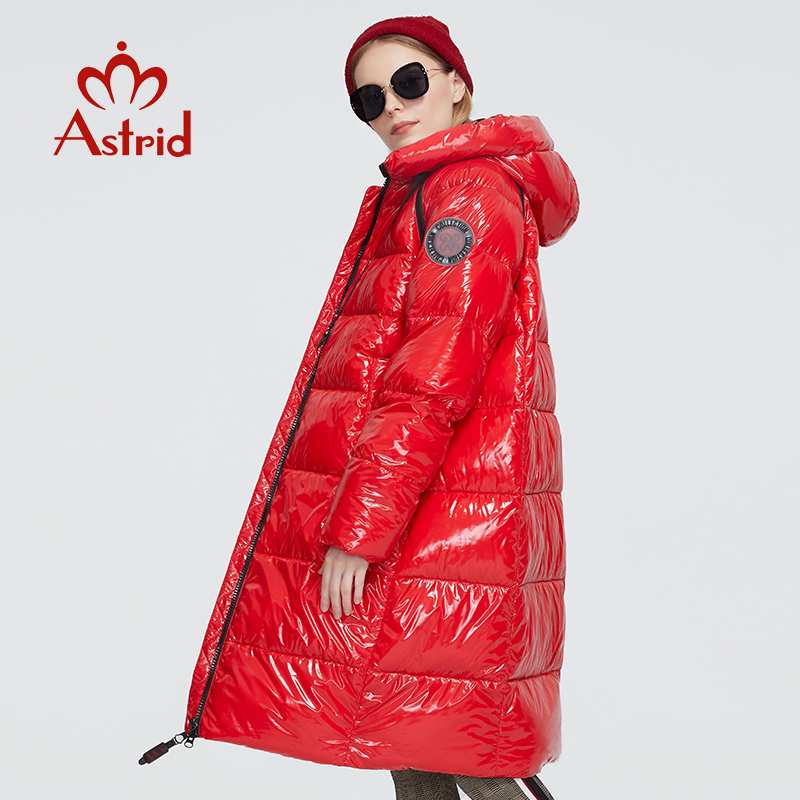 Astrid 2020 delle Nuove donne di Inverno cappotto lungo delle donne parka caldo tessuto Luminoso di modo Giacca con cappuccio di grandi dimensioni abbigliamento femminile 8675