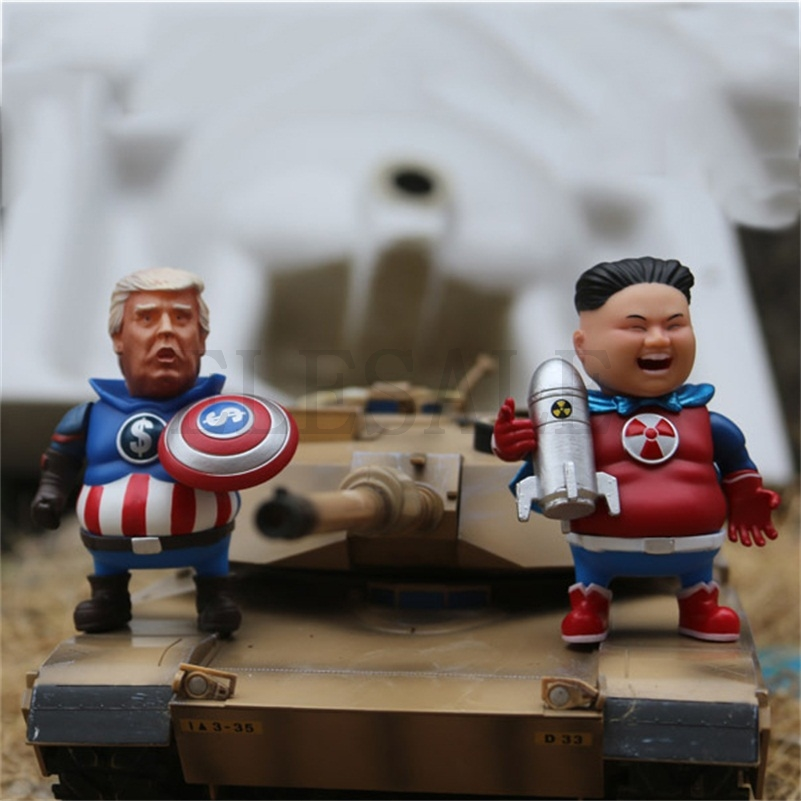 Creative PVC Avengers JIN And Donald Trump Statue For Home Bar Party Desk Decorative Ornament Funny Gift