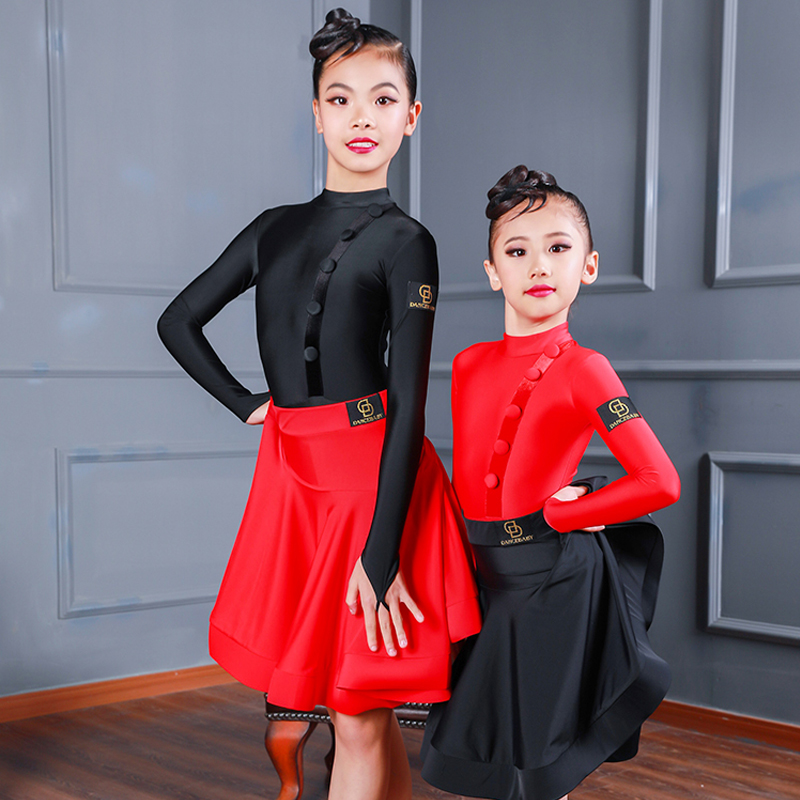 Hot Sale Children'S Dance Skirt For Girls Latin Dance New Black/Red Skirt Kids Practice Clothing Exam Competition ChaCha BL3115