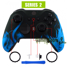 Blue Flame Soft Touch Faceplate Front Housing Shell Replacement Kit for Xbox One Elite Series 2 Controller Model 1797