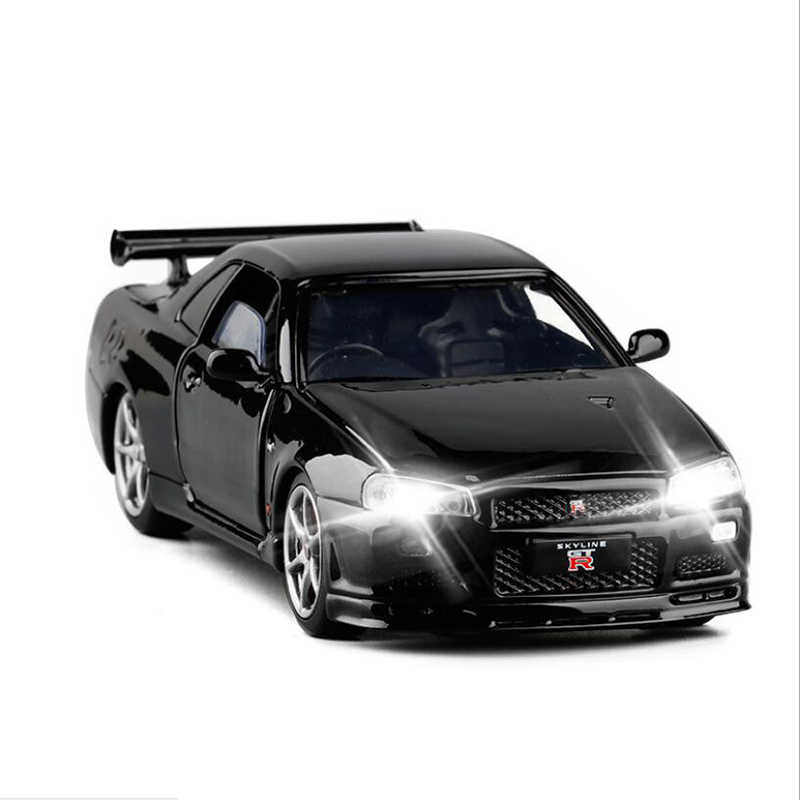 1:32 nuovo R34 SKYLINE GTR Modello di Auto In Lega Giappone JDM Collezione di Auto Porta Luce Del Suono In Metallo Pressofuso Giocattolo Per I Ragazzi