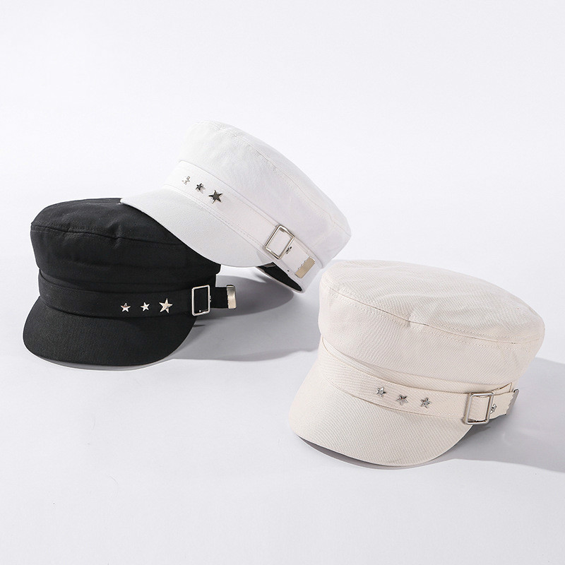 Women's Hat Flat Cap Military Cap Spring Autumn Five-pointed Star Octagonal Cap Flat Top Military Hats Young Student Hat Female