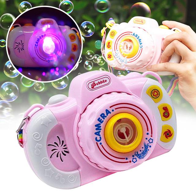 Gifts Portable Home Electric Bubble Machine Fun Outdoor Plastic Baby Shower Camera Shaped Automatic With Light Music Kids Toy tanie i dobre opinie TONQUU Z tworzywa sztucznego 5-7 lat Unisex Nietoksyczny Miga