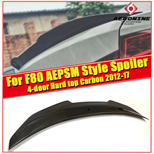 цена на For BMW M3 F80 4-door Hard top Sedan Trunk spoiler wing PSM style Carbon fiber 3 series 325i 330i 335i Rear wing spoiler 2012-17