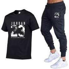 Été Offre Spéciale hommes ensembles t-shirts pantalons deux pièces ensembles survêtement de sport homme 2020 décontracté t-shirt imprimer Jordan 23 Trouse