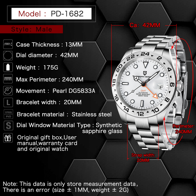 2021 PAGANI Design New Men's Automatic Mechanical Watches GMT Watch 42mm Sapphire Stainless Steel Waterproof Watch Reloj Hombre 5