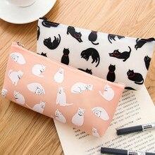 Caja de lápices de silicona con forma de gato para niños, Material Escolar y de oficina, color blanco y negro, 1 unids/lote