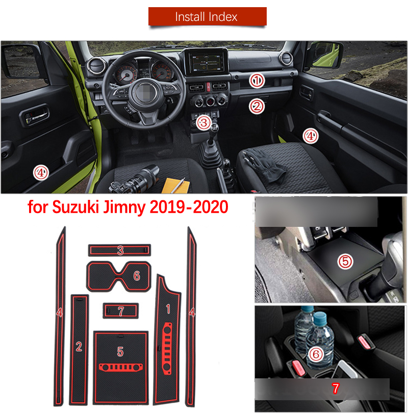 Door Groove Mat For Suzuki Jimny 2019 2020 JB64 JB74 Jimny Sierra Accessories Anti-Slip Mat Gate Slot Coaster Car Interiors Gel