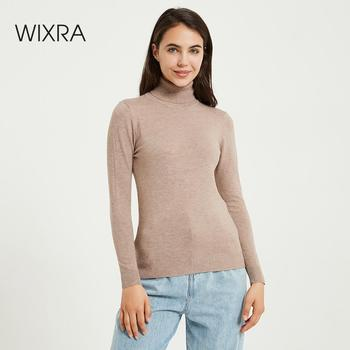 Wixra Knitting Sweater and Jumper Turtleneck Tops Pullovers Casual Sweaters Womens Long Sleeve All-match Elastic Sweater