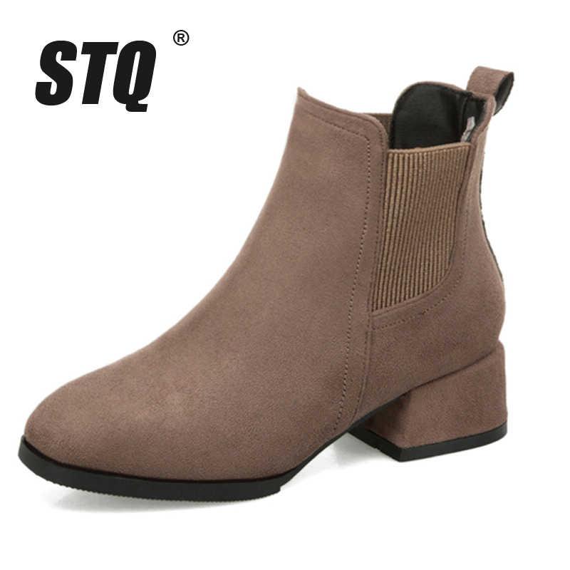 STQ kış kadın kar botları ayakkabı ShoesFemale çizmeler üzerinde kayma ayakkabı orta topuklu kar botları Mujer patik Feminina ayakkabı Q6-1
