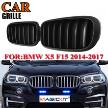 MagicKit 1 Pair Matte Black Front Bumper Racing Grill Kidney Grill Grilles For BMW X5 F15 X6 F16 X5M 2013 2014 2015 2016 2017 pair matte black m color front left right side kidney grille grill for bmw x5 f15 x6 f16 x5m f85 x6m f86 2014 2015 2016 2017
