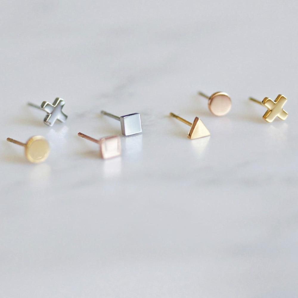 Модные маленькие серьги 316L из нержавеющей стали, розовое золото, серебряный цвет, серьги для женщин, маленькие милые вечерние ювелирные изд...