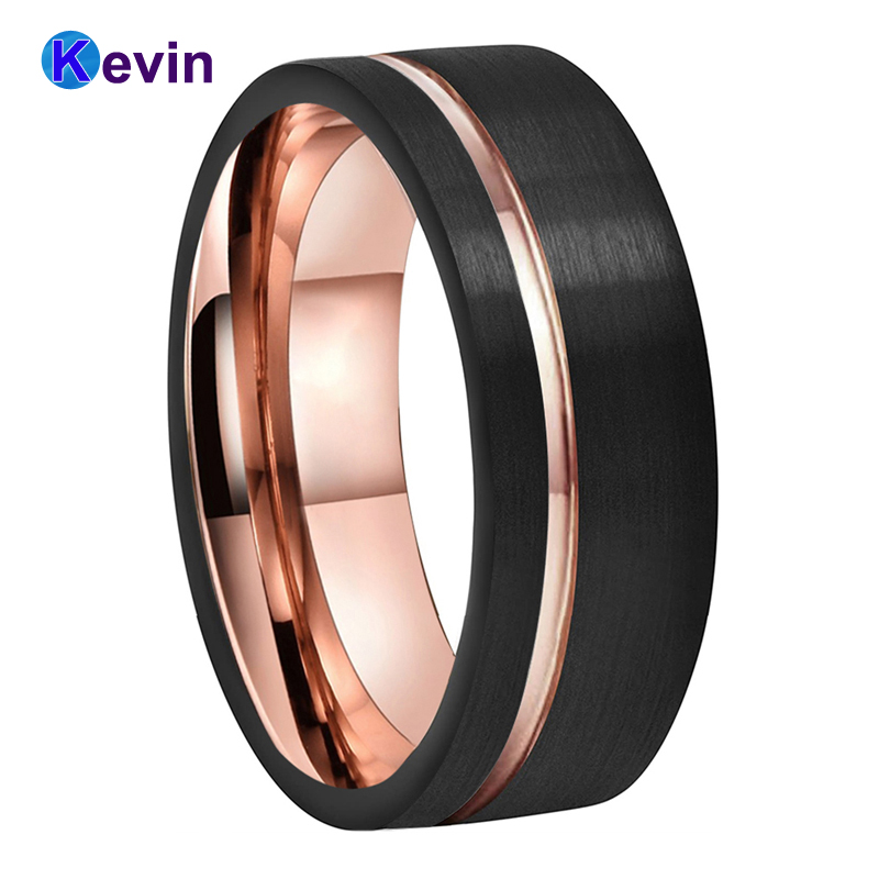 Mens Womens Wedding Band Tungsten Carbide Ring Black Rose Gold With Offset Groove And Brush Finish 2