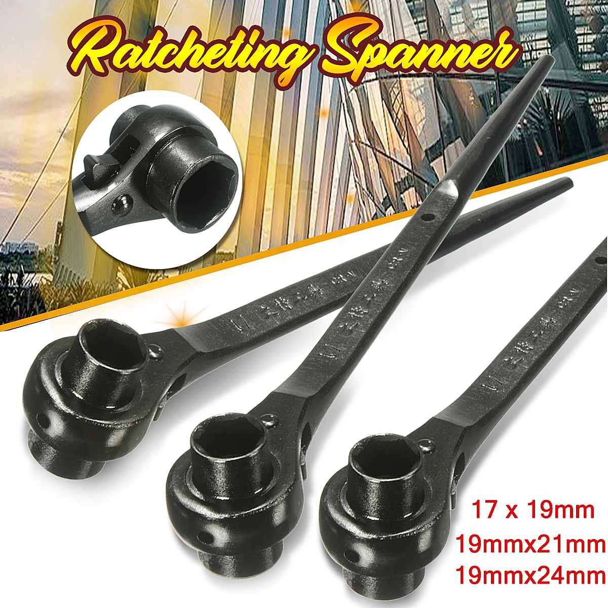 17 19 21 24mm Ratchet Wrench Universal Head Wrench End Socket Wrench Adjustable Socket Adapter Hand Tools Car Tool