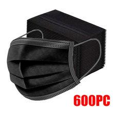 Masque facial jetable noir pour adultes, avec filtre Anti-poussière et respirant, protection buccale à 3 couches, 10 à 600 pièces, livraison rapide