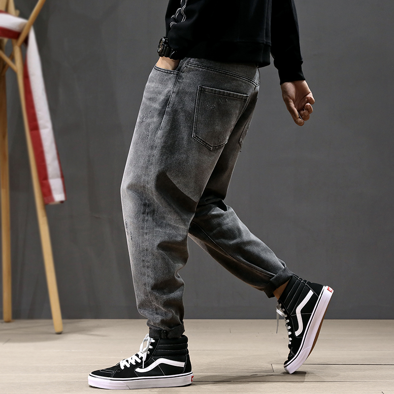 Fashion Streetwear Men Jeans Retro Gray Loose Fit Ripped Harem Pants Size 28-42 Vintage Designer Hip Hop Jeans Men Pencil Pants