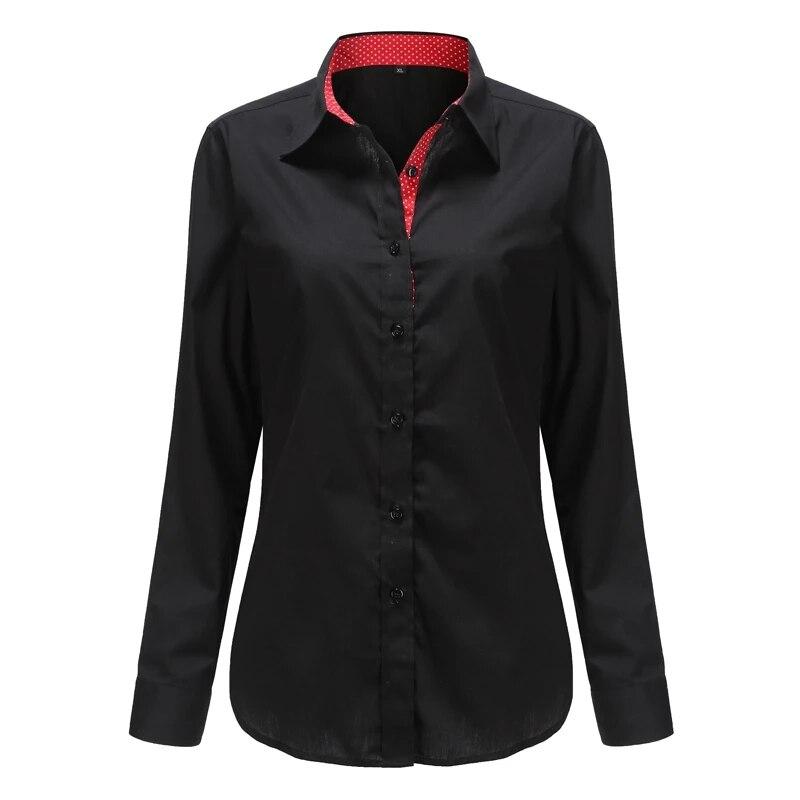 Dioufond camisa escolar feminina, blusa azul branca para senhoras camisa de manga longa bordada