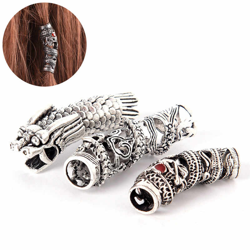 1pcs Tibetan Silver Dragon Hair Braid Bead Braiding Dread Dreadlock Tube Beads Ring Cilp Cuff For Braiding Hair Extension