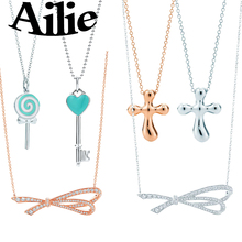 Ailey original high quality  925 sterling silver key necklace bow classic cross fashion ladies jewelry couple gifts