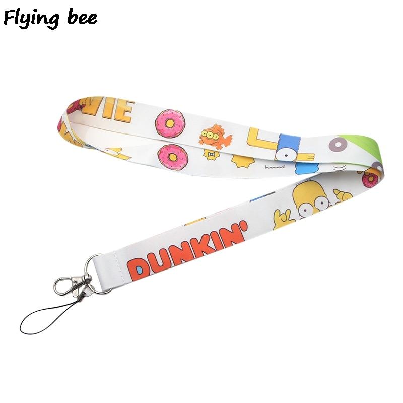 Flyingbee Cartoon Funny Lanyard Phone Rope Keychains Phone Lanyard For Keys ID Card Cartoon Lanyards For Men Women X0378