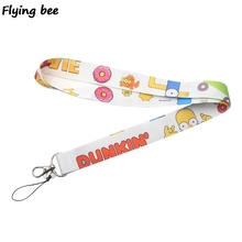 Flyingbee Cartoon funny Lanyard Phone Rope Keychains for Keys ID Card Lanyards For Men Women X0378