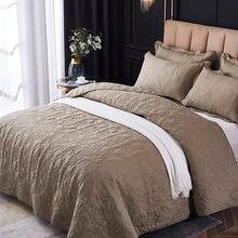 Luxo 3d impressão algodão poliéster colcha xadrez conjunto de cama colchas estofando colcha capas de cama linho cor sólida #/
