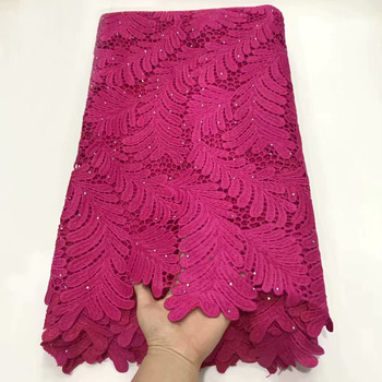 Milk fibe Guipure Lace Fabric Fuchsia High Quality Nigerian Lace Fabric 2019 Newest African Water Soluble Lace For Evening dress