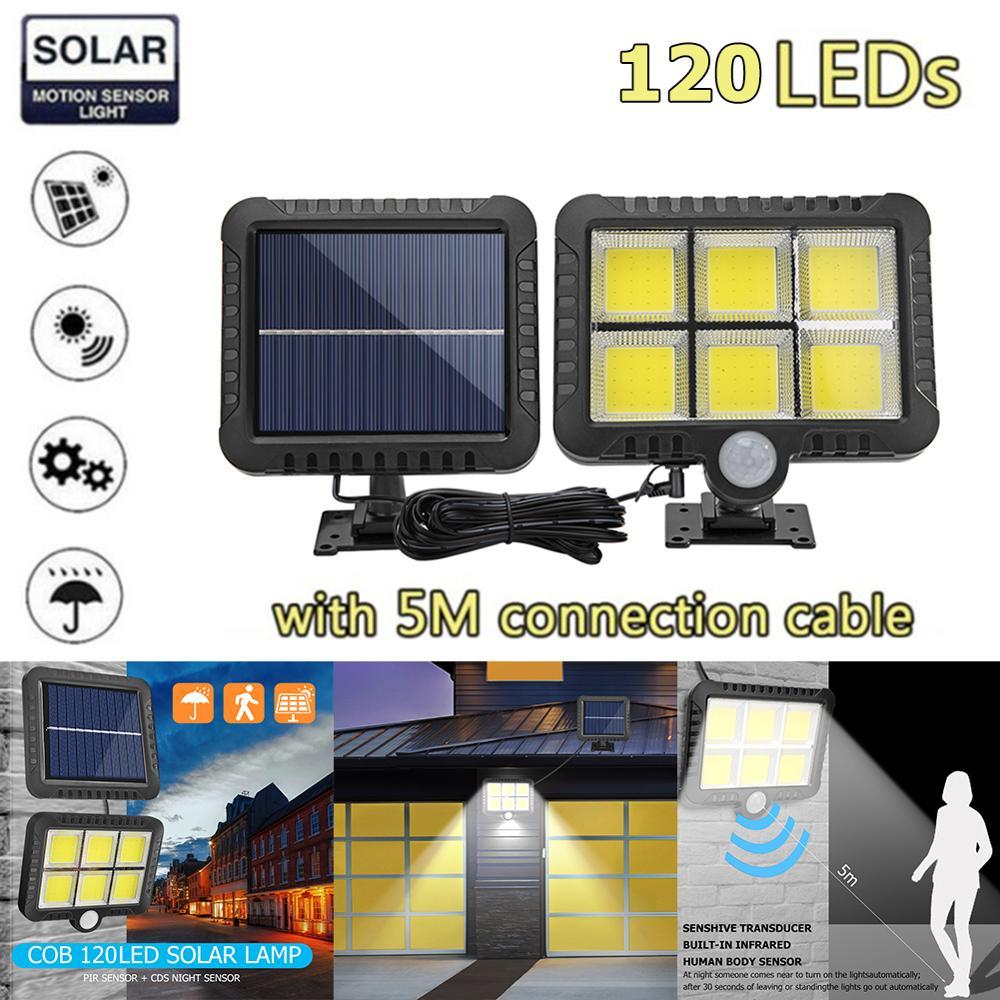 COB lampe murale solaire à capteur de mouvement, éclairage mural à capteur de mouvement solaire rechargeable IP65 éclairage de la nuit