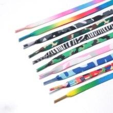 Разноцветные шнурок для туфель с печатным рисунком, модные длинные шнурки на плоской подошве, парусиновая обувь, обувь, аксессуары