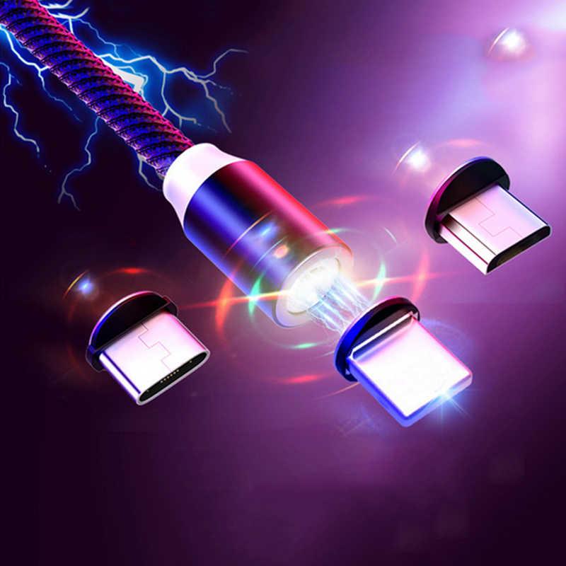 3 in 1 manyetik mikro USB kablosu iPhone Samsung Android için hızlı şarj mıknatıs şarj USB tipi C kablo cep telefon kablosu tel